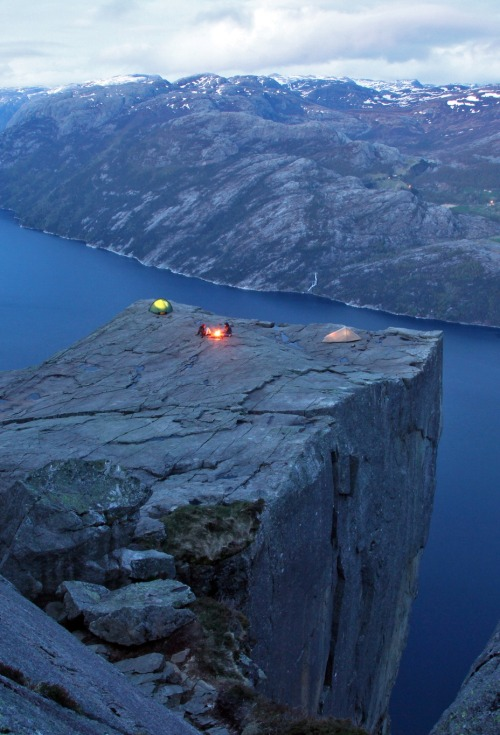 bluepueblo:  Cliff Camping, Preachers Rock, Norway photo via fluxmag