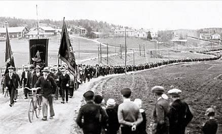 Today in labor history, May 14, 1931: Striking sawmill workers in Adalen, Sweden, march to the mills to protest the fact that scabs were brought in to break their strike. Soldiers sent to protect the strikebreakers opened fire on the workers, killing five people. The next day, a general strike was called in Adalen and 80,000 people demonstrated in Stockholm to protest the shootings.