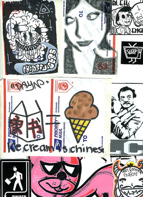untitled by Slap Swap Sticker Trade on Flickr. That's mine in the top right… get involved with http://www.slapswap.com if you're a sticker maker!