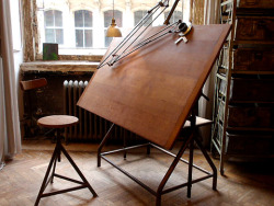 elorablue:   Industrial Drafting Table-Hudson Goods