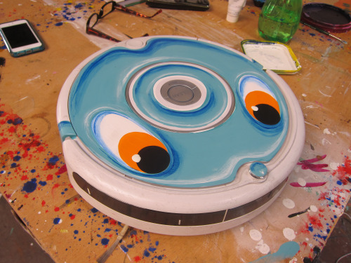 Kenny Scharf's fantastic little Roomba in his East Williamsburg studio.