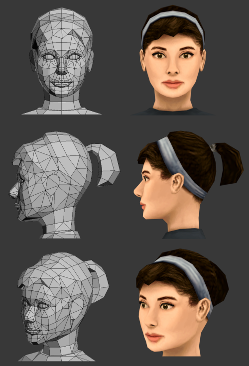 It's Audrey Hepburn in 3D. This ends my experiments/practice in 3D low poly humans for now… 2062 tris, 256x256 texture.