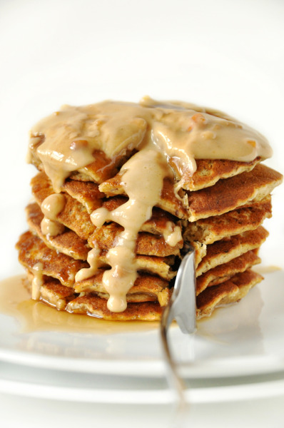 fullcravings:  Vegan Peanut Butter and Flaxseed Pancakes