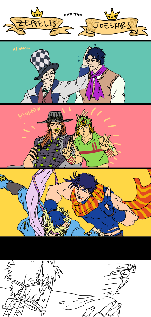 bocchickenbocdoodles:  The Zeppelis and the Joestars. Joseph needs to learn to respect his elders…   Oh you Joseph