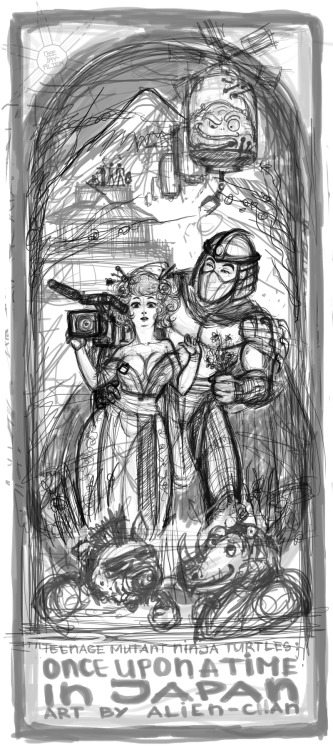 _Once upon a time in Japan___TMNT fanart_sketch by =DeeJay-Alie