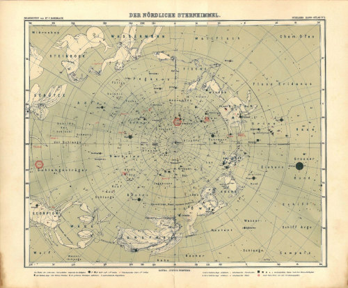 1914 Astronomy Chart North Sky Antique Original Map Zodiac Constellations at CarambasVintage http://etsy.me/XHPhIf