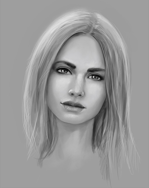 Facestudy with central lighting, not that interesting, but I like that face, its from Olga Kaczynska. Photoshop, Cintiq, 1 hour.