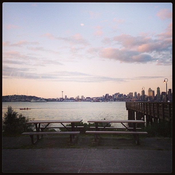 Marination Ma Kai outdoor seating, view facing downtown Seattle from West Seattle near Harbor Avenue, late April 2013 (at Marination Ma Kai)