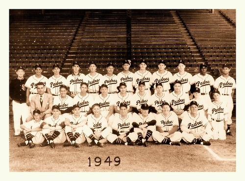1949 San Diego Padres TeamHere's the very talented '49 Padres squad led by Hall Of Fame Mgr. Bucky Harris. Bucky was only in San Diego for the '49 season as he was in-between major league jobs ('48 Yankees/'50 Senators). Players on this team included Luke Easter, Minnie Miñoso, Vic Power, Al Rosen & Artie Wilson.