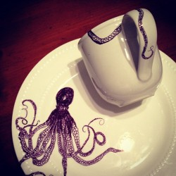 Sneak peek of today's project. Hand-drawn artwork on dishes #iobette #artwork #seacreatures #sharpie #ink #octopus #tentacles