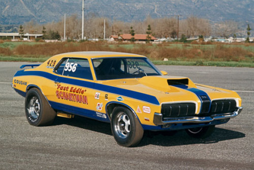 "musclecardreaming:  ""Fast Eddie"" Schartman's Mercury Cougar"