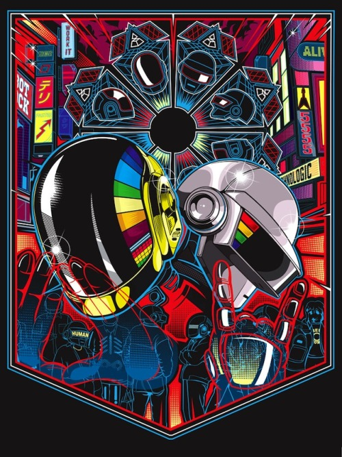 ianbrooks:  Humans After All: Daft Punk Art Show The coming of the new Daft Punk album may be the most important event in recorded human history thus far, a proper reception for the once and future alien robot DJ overlords. Showing at Gauntlet Gallery in San Francisco from May 18th through June 15th, we convene to pay tribute in the hopes that all of us around the world can get lucky one more time. Click on the pics for artist credit.