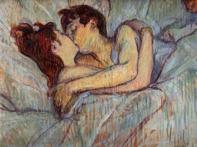 artistic-depictions:  In Bed: The Kiss, Henri de Toulouse-Lautrec, 1892, oil on canvas