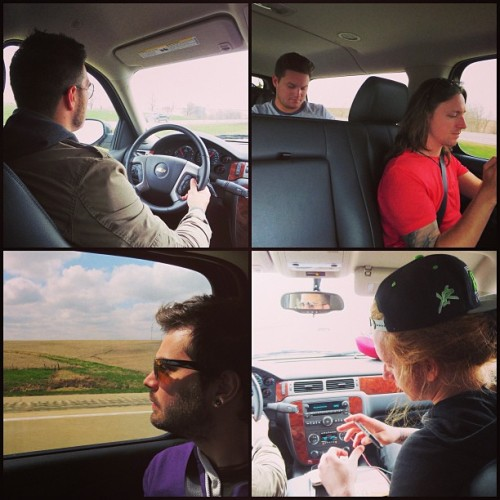 charlestrippy:  Road trip with these weirdos. Next stop Rippon, WI! Who's coming to the show?!