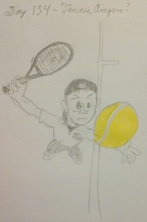 Day 134 - Tennis, Anyone?  Though your game is hardly the bestYou can fray your opponent's nervesBy methodically bouncing the ballAt least ten times before your serves. Arnold J. Zarett  Tennis is my sport of choice; my tall, lanky build helps me to reach drives, and deliver above-average serves (for an amateur). It's also a good workout and low-cost provided you can find a court. <okay, enough with the sales pitch> This was a quick one so I could get to bed sooner than before I have been the rest of this week. Drawn from reference so I could get the wonky angle right.