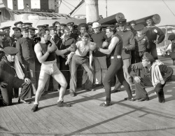 vintagesportspictures:  Boxing aboard the U.S.S. New York (1899)