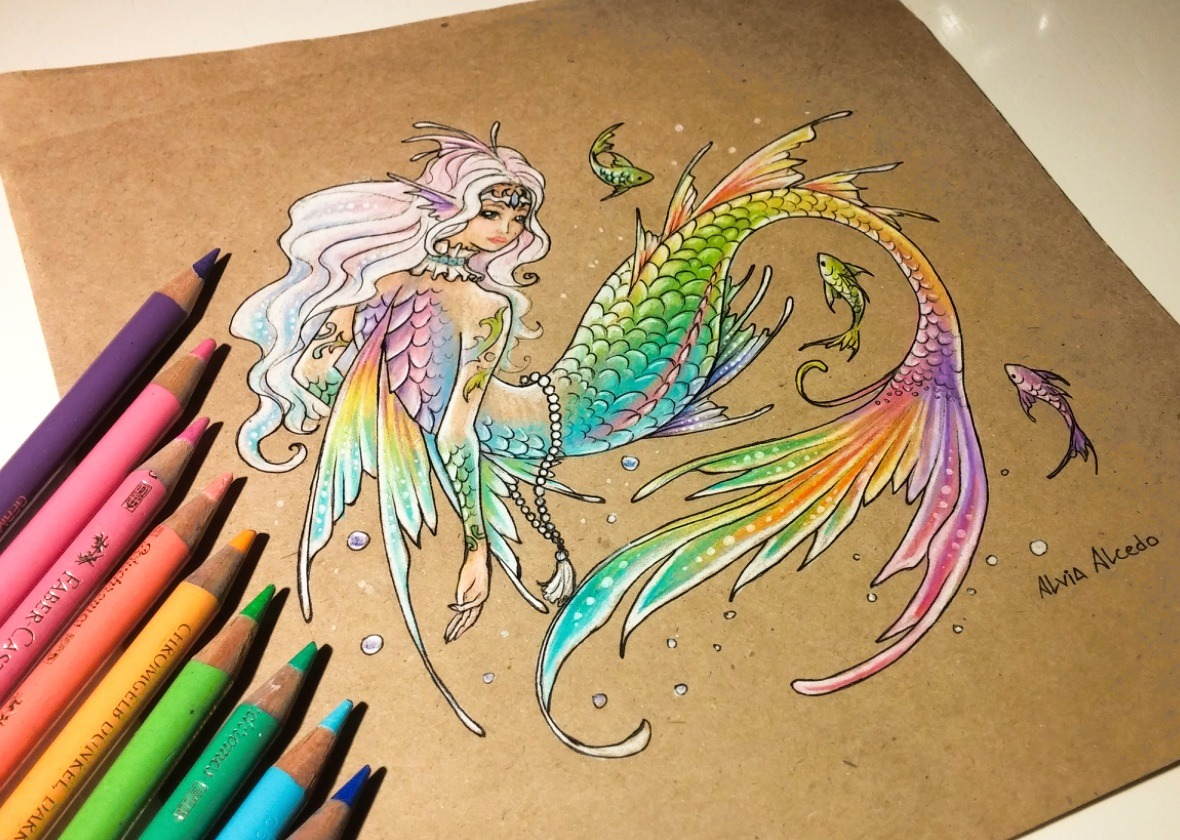alvia alcedo � rainbow mermaid it�s my first time to draw