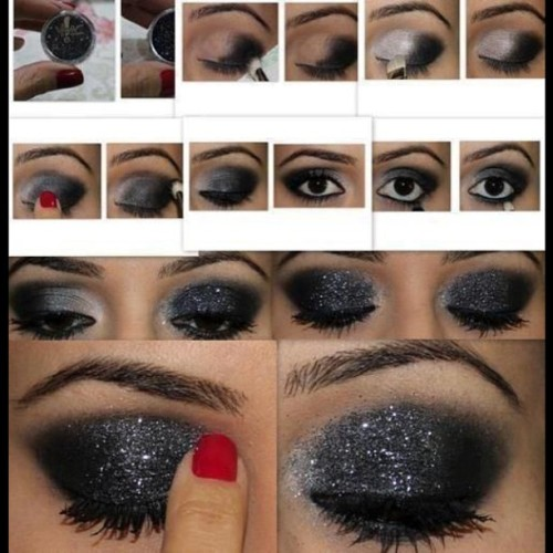 Black Sparks Glitter Tutorial.  #cheermakeup #dancemakeup #makeup #cheer