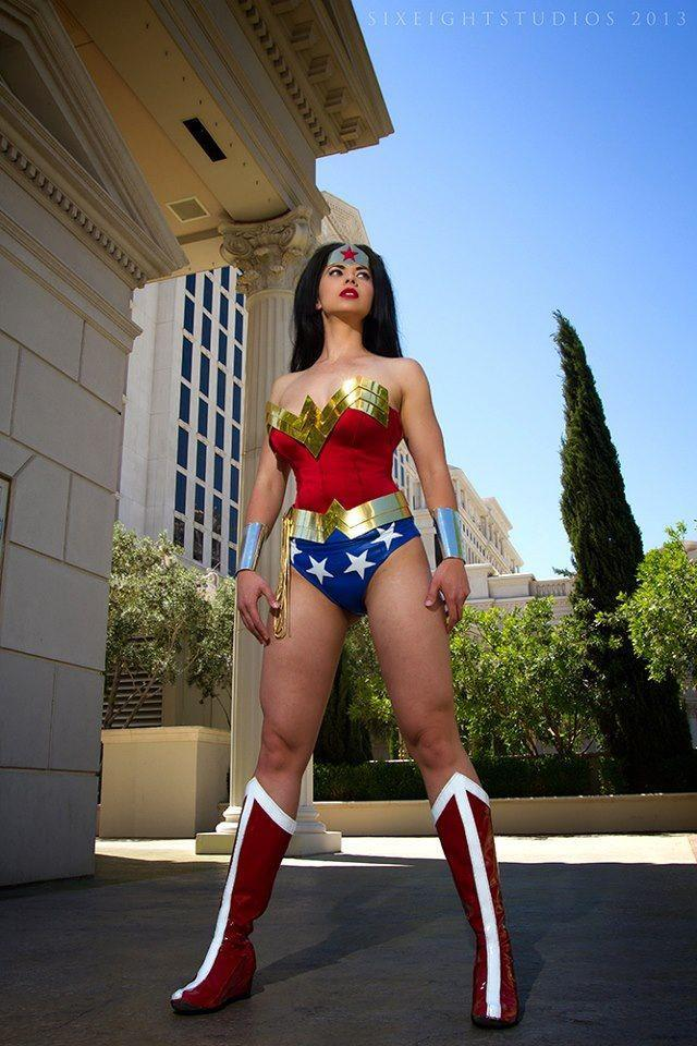 Margie Cox as Wonder Woman. Where do you do a photoshoot when you're Wonder Woman and in Vegas? Caesar's Palace, of course! Photo by Scott Berry of SixEightStudios!