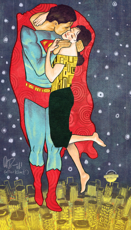 westcoastavengers:  Superman and Lois Lane by Daniel Irizarri (after Klimt)