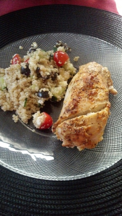 The baked chicken came out perfect! I couldn't find the recipe for the quinoa so I went off what I (think) I remembered. The quinoa has English cucumber, grape tomatoes, olive, lemon, a little bit of olive oil and salt and pepper. Oh and feta. Serve the quinoa cold.
