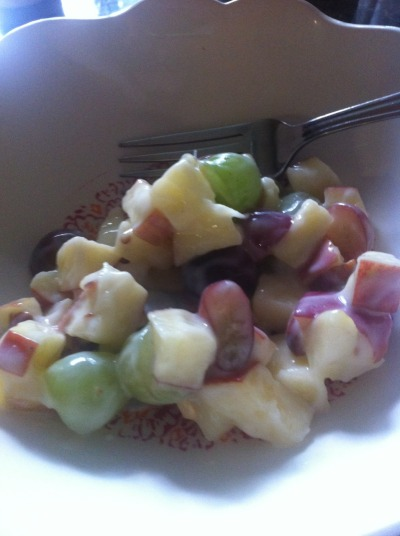 myjourneytofitness2013:  Homemade fruit and walnut salad. Only 110 calories a cup. 2 medium apples chopped 1.5 cup grapes (I mixed green and red grapes) cut in half 14 almonds cut in half or crushed One small container of light nonfat pineapple yogurt. Makes 4 cups. Delicious!!!