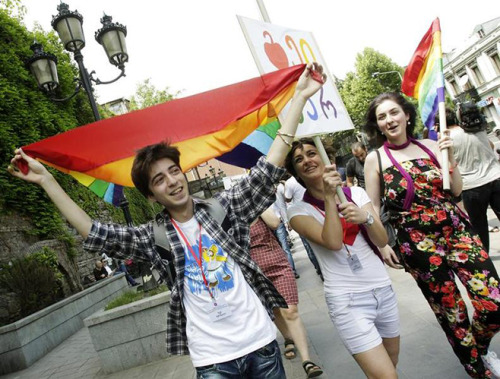 humanrightswatch:    Gay rights activists march in Tbilisi, Georgia to mark The International Day Against Homophobia and Transphobia (IDAHO) on May 17, 2012.     © 2012 Reuters