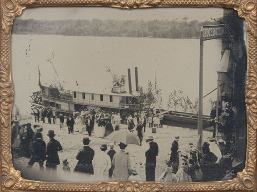 "ca. 1858, [ruby-glass ambrotype of the ""Charles Rogers""  steamboat on the Des Moines River] via Christopher Wahren Fine Photographs, Skylight Gallery"