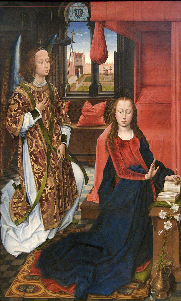 The Annunciation (1465-75). Hans Memling (Netherlandish, active by 1465–died 1494). Oil on wood. The Metropolitan Museum of Art. May have been the left wing of a triptych commissioned by the Clugny family, whose coat of arms decorates the carpet and window. The composition is based on a design by Rogier van der Weyden, painted by Memling who, technical evidence suggests, was a journeyman in Rogier's workshop before establishing himself in Bruges in 1465.