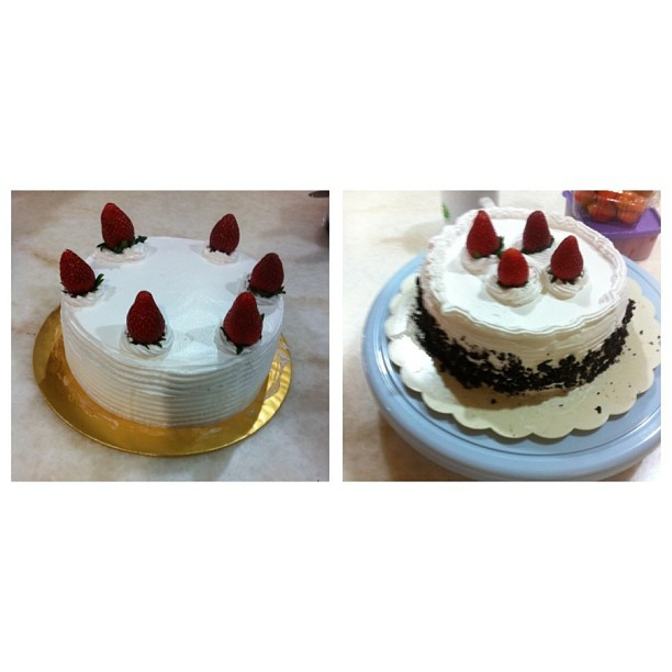 Homemade by myself 😉 #home #made #bake #cake #mom #myself #nice #white #asian #insdaily #instagram #strawberry #love #likes #lol