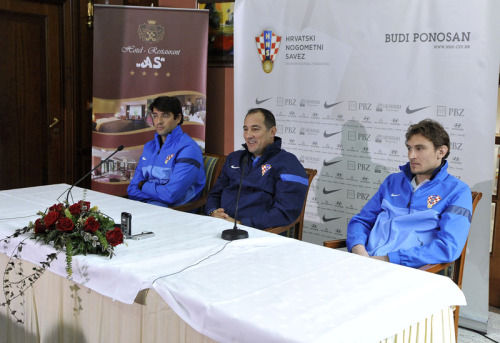 Vedran corluka attends the press