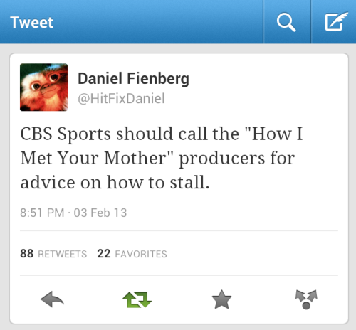 Happened to be in a room with a HIMYM writer when this tweet surfaced. Many laughs were had.
