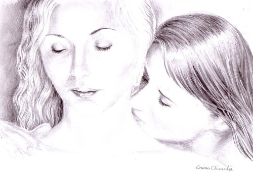 A kiss on her soft neck sensual romantic pencil drawing