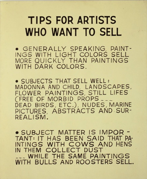 artruby:  John Baldessari, Tips for Artists Who Want to Sell (1966-68).