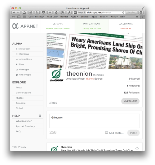 The Onion lands on App.net. It's official too.  Join us.