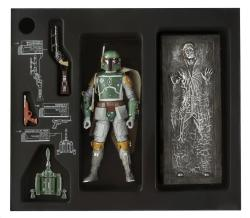 Black Series Boba Fett With Carbonite Han Solo Images & Details. Get Ready For the Scalpers http://bit.ly/137gI1c source Sometimes you just wanna cry when manufacturers make exclusives. I swear they murder small kittens and woodland animals at times they can be so evil releasing something so cool for collectors in such limited quantities, on one continent, at one event. Ugh. Especially when you plenty of scalpers will be ensuring that they buy more then they need, and we all pay through the nose for this online. Slim chance this may be available at hasbrotoyshop.com AFTER SDCC, but again traditionally scalped well. Celebration Europe II on the other hand may get an exclusive as good as this? Time will tell. Bloody hope so! We'll if your fortunate to be going to SDCC I guess as a  reward for braving the crowds you get the privilege to buy one of these at….wait for it… $45USD which will be sold at the Hasbro booth at the San Diego Convention Center July 18-21. Well I guess it IS two figures and the $5 extras is well… because they can charge it. The rest of the Black series will be in stores globally from July/August. Expect scalpers to have this on fleabay for $99+ from about…now!VIEW THE FULL GALLERY OF FETT & SOLO ON OUR GOOGLE+ OR FACEBOOK PAGERelated Fly Posts
