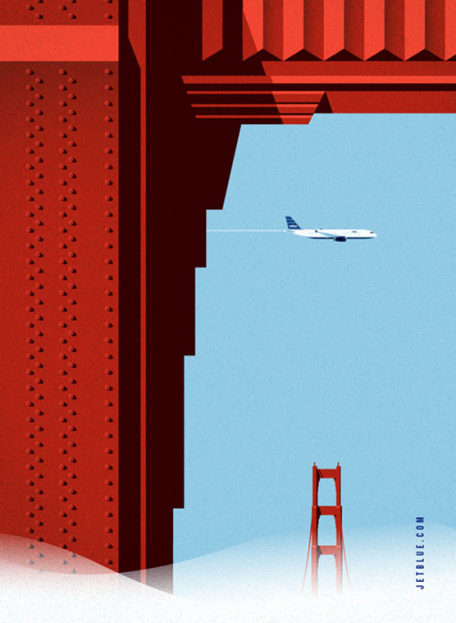 weandthecolor:  JetBlue Pitch Posters A series of vintage inspired poster illustrations created by Lab Partners for Goodby, Silverstein and Partners as part of their pitch for the JetBlue account. Lab Partners is a husband and wife creative team based out of Northern California. More posters of the series on WE AND THE COLORWATC//Facebook//Twitter//Google+//Pinterest