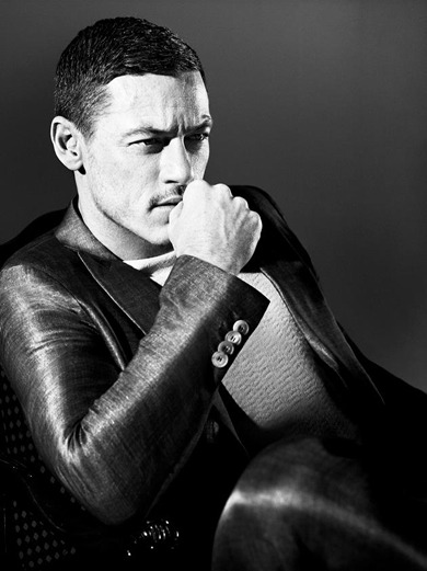 The Thinker Luke Evans in Armani.