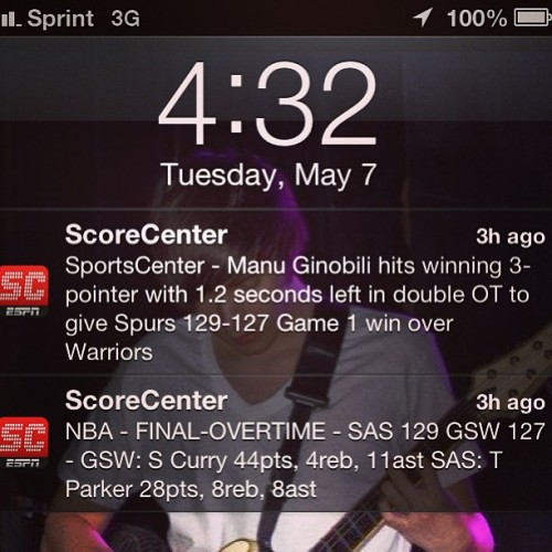 This is what I like to see when I get off work. #spurs #playoffs #overtime