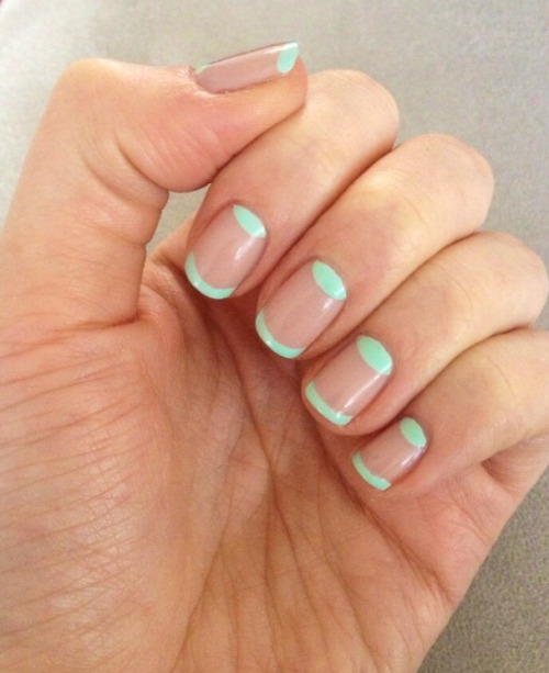 nailsbymh:  Nude and mint green half moons using Color Show by Maybelline New York xx