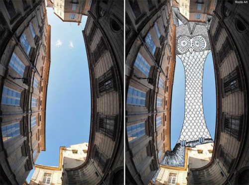 (via Sky Art: Thomas Lamadieu Illustrates in the Sky Between Buildings | Colossal)