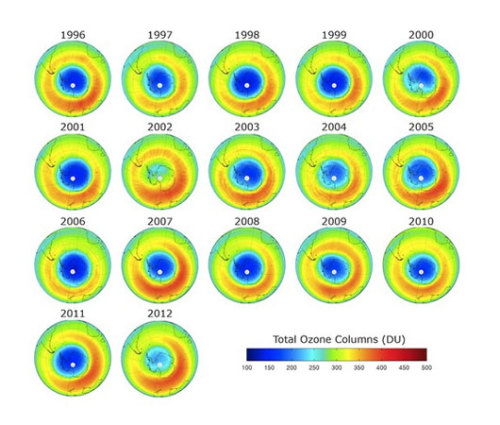 Ozone hole shrinks to record low      Antarctica is particularly vulnerable to ozone-depleting substances, because high winds cause a vortex of cold air to circulate over the continent.