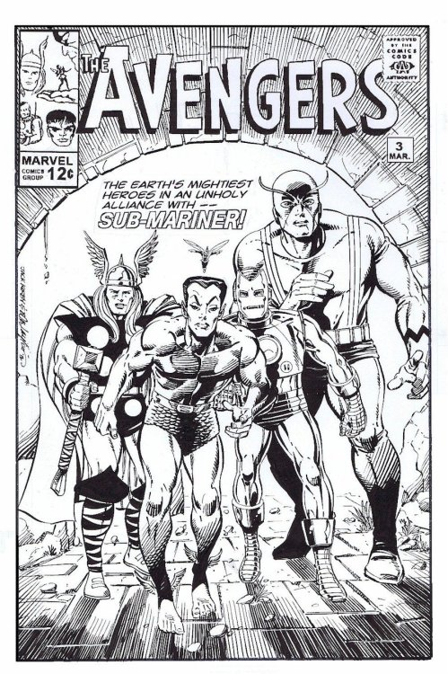 Bob Layton created this cover of the Avengers from a small sketch from Jack Kirby.