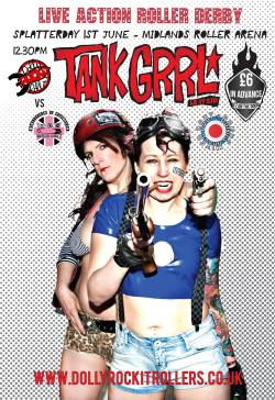 Tank Grrl is our next bout against London Rollergirls' Batter C Power.  This is a DOUBLE HEADER, with a mixed opener featuring skaters from across the country.  We have advance tickets on sale, and given we almost sold out at our last bout we recommend getting them before they're gone!