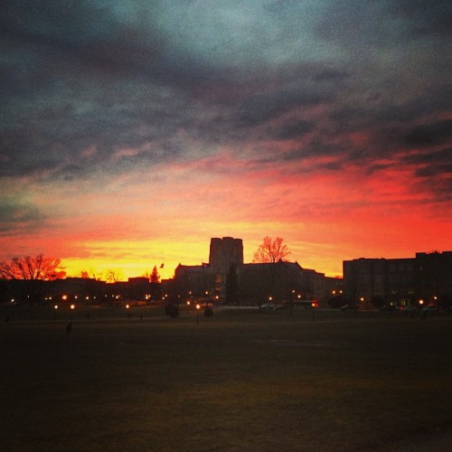 itsjrod:  Another beautiful #Blacksburg #sunset with Buruss Hall in the backdrop. This will never get old. #sky #clouds #night #virginiatech #vt #hokies  Sunset on campus.