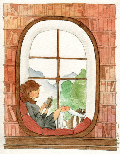 littleglassunicorn:  Her reading nook by button-bird