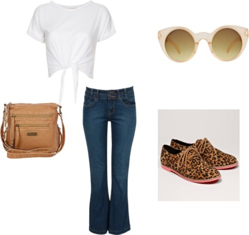 Outfit including requested item. by kyliejennerfashion featuring messenger bags  White tee, $11 / Blue jeans, $15 / American Eagle Outfitters leopard print shoes / River Island messenger bag, $32 / ASOS round sunglasses