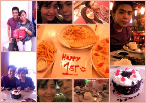 March 9, 2013 - 1st Aniversary! :D 1 year na kamiiiii! :D 1 year kiligan.. 1 year of away-bati.. 1 year of LOVEEEE! :D How time flies so fast. 1 year ago na pla nung werla mode pa ako on what to do. 1 year na pla nung super confused ako. lumipas na pla yun. hehe.. Andrei's my FIRST Boyfie.. and i therefore conclude na marunong din pala ako mag-uyab2.! bwhahaha :D Thanks  Drei! I love you! :*>pre-anniv celeb by having studio pictorial and date at Ice Giants. >drei suurprised me with a cake and messages attached to it. >dinner date at Toryano's <3