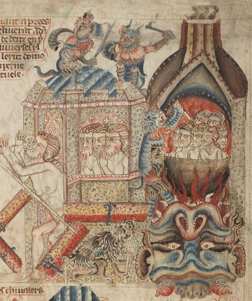 inacom:  British Library, Add MS 47682, detail of f. 34r. Bible (the 'Holkham Bible Picture Book') c. 1327-1335