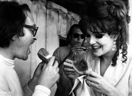 Director Sidney Lumet and Lynn Redgrave cool off on the set of Last of the Mobile Hot Shots